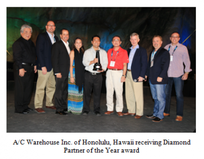 A/C Warehouse Inc. of Honolulu, Hawaii receiving Diamond Partner of the Year Award